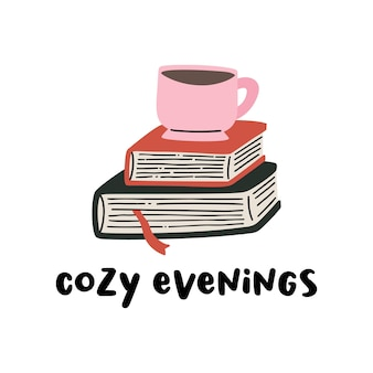 책 더미와 차, 커피, 머그, 컵의 벡터 클립 아트 구성.