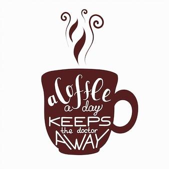 コーヒーについてのレタリングとベクトルカップ