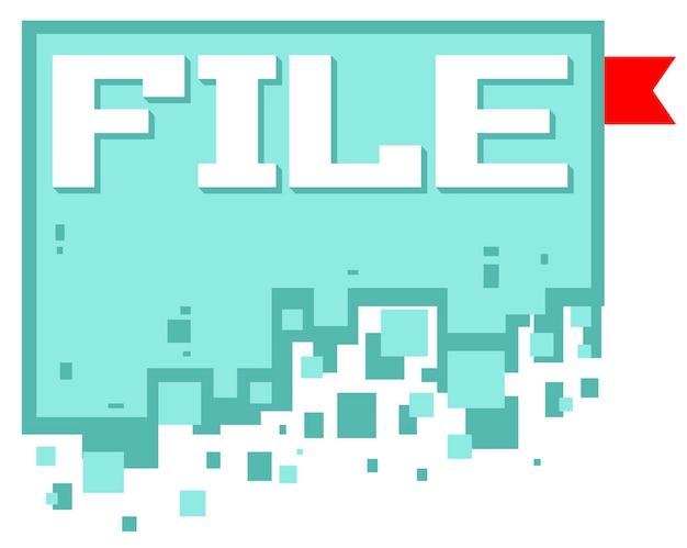Векторная иллюстрация значка файла пиксельной графики с красной закладкой