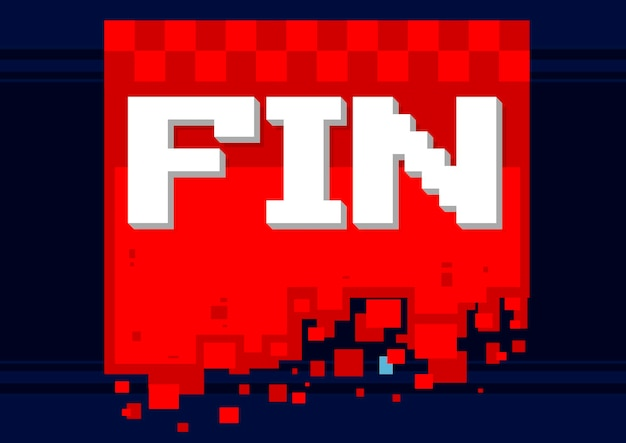 Векторная иллюстрация пиксель арт значок плавника на красном фоне