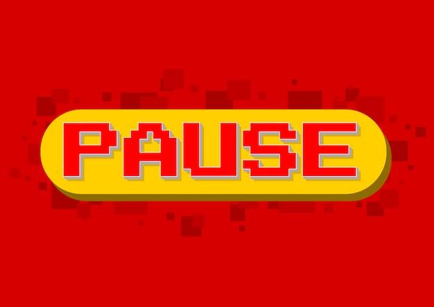 Векторная иллюстрация экрана паузы компьютерной игры пикселей на красном фоне