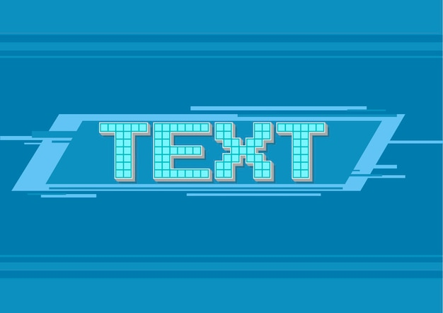 Векторная иллюстрация векторной пиксельной синей рамки для текста иллюстрации