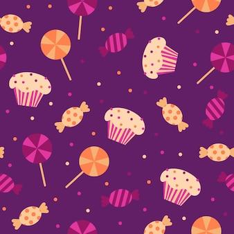 할로윈 트릭의 벡터 일러스트 레이 션 원활한 패턴 배경 또는 보라색에 사탕을 치료