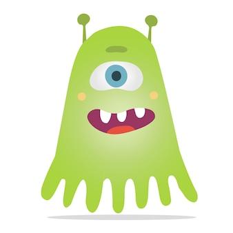 촉수, 이빨 미소, 그리고 한쪽 눈을 가진 녹색의 벡터 괴물.