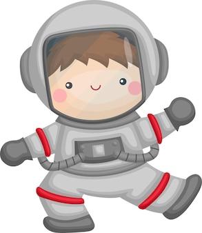 우주 비행사 슈트와 귀여운 아이의 벡터