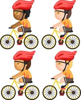 Вектор человека, едущего на велосипеде, с несколькими вариантами оттенков кожи