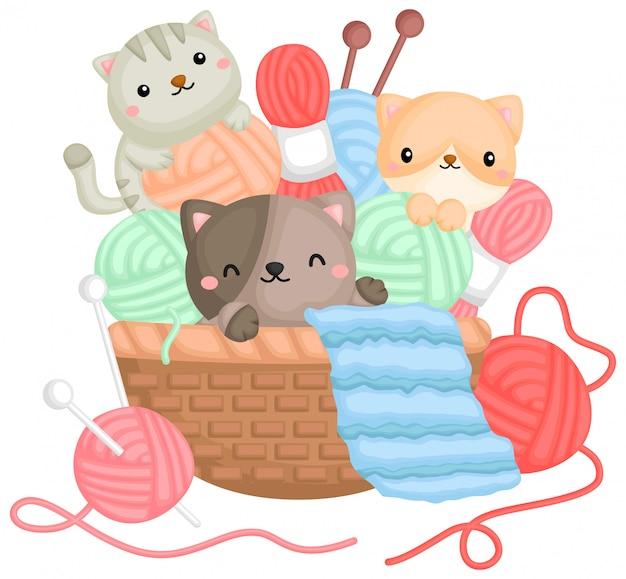 Вектор кошек, играющих с пряжей в корзине