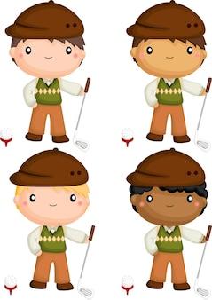 さまざまな肌の色調のゴルフ選手のベクトル