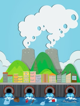 下水道廃棄物と工場のベクトル