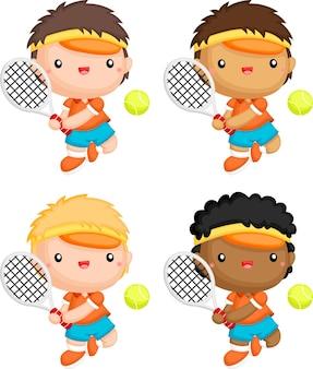 さまざまな肌の色のテニスプレーヤーのベクトル