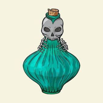 ふたに頭蓋骨が付いている毒のバイアル背景に分離された手描きのベクトル図