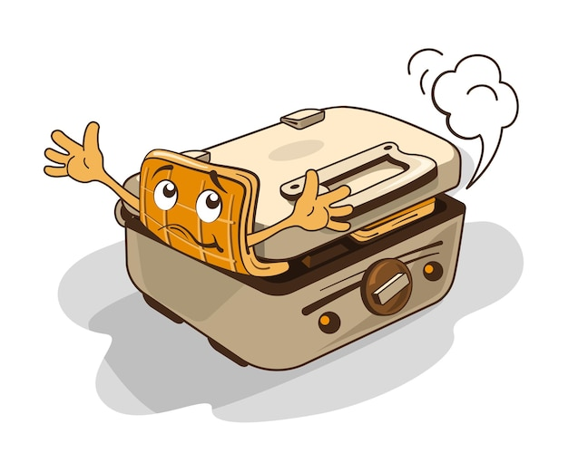 Венская вафля пытается вырваться из вафельницы. юмористическая иллюстрация.