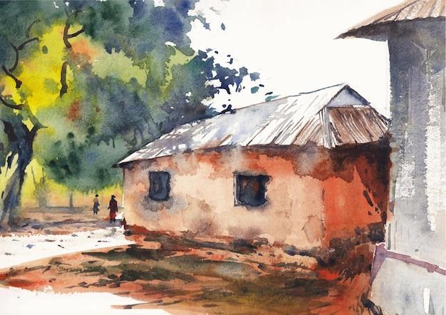 Вид на сельский деревенский дом