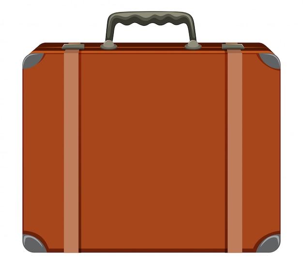 Старинный чемодан на белом фоне