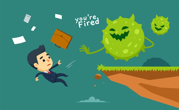 ウイルスは崖からビジネスマンを投げます。孤立した