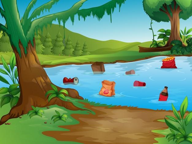Загрязнение воды в природном ландшафте