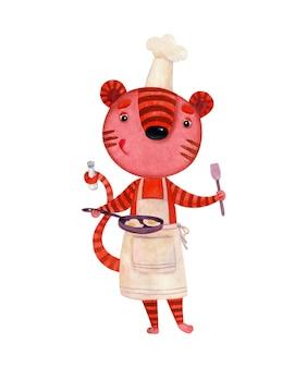 スクランブルエッグを準備している料理人の衣装を着たトラの水彩画