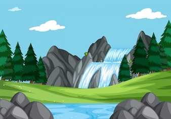 自然の風景の中の滝