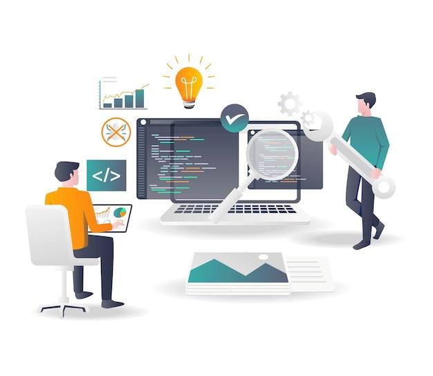 Веб-разработчик анализирует язык программирования