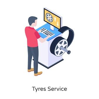 タイヤサービスのうまく設計されたアイソメトリックアイコン