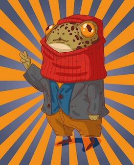 Хорошо одетая лягушка в куртке с вязаной балаклавой на голове показывает всем мирно.