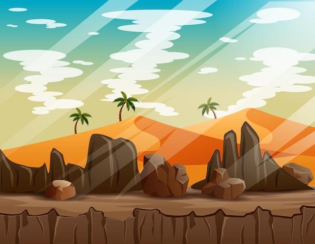 바위 절벽 산이있는 서부 사막 풍경