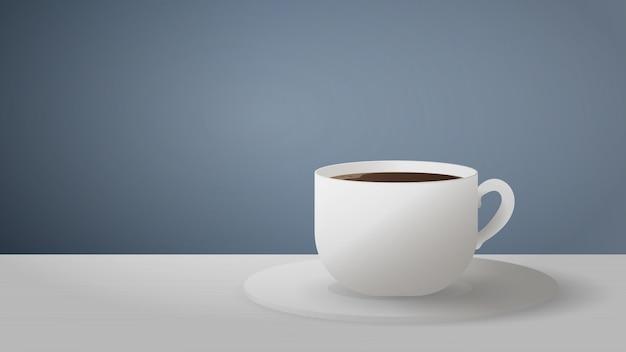 ライトテーブルの上にコーヒーと白いカップが立っています。灰色の背景にエスプレッソ。テキスト用のスペースのある画像。コーヒーのテーマに適しています。