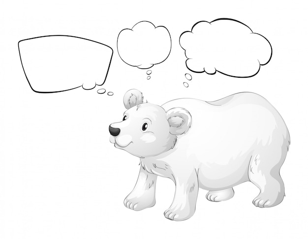 Белый белый медведь с пустыми выносками