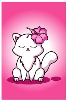 Белая симпатичная кошка с цветком в ухе