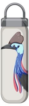 Белая термос с рисунком птиц и животных