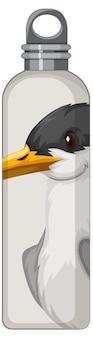 Белая термос с рисунком птиц