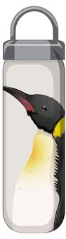 Белая термос с рисунком пингвинов