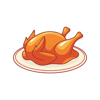 접시에 구운 닭 전체