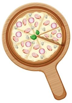分離された木のプレートにタマネギとキノコをトッピングした完全菜食主義のピザ
