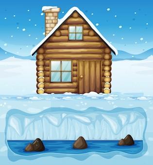 Зимняя хижина на северном полюсе