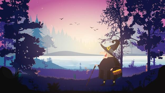 黒いローブを着た魔女が森の中を歩きます。帽子をかぶった魔女。ハロウィーンをテーマにしたデザインに適しています。孤立。ベクター。