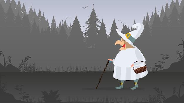 白いローブを着た魔女が森の中を歩きます。帽子をかぶった魔女。ハロウィーンをテーマにしたデザインに適しています。孤立。ベクター。
