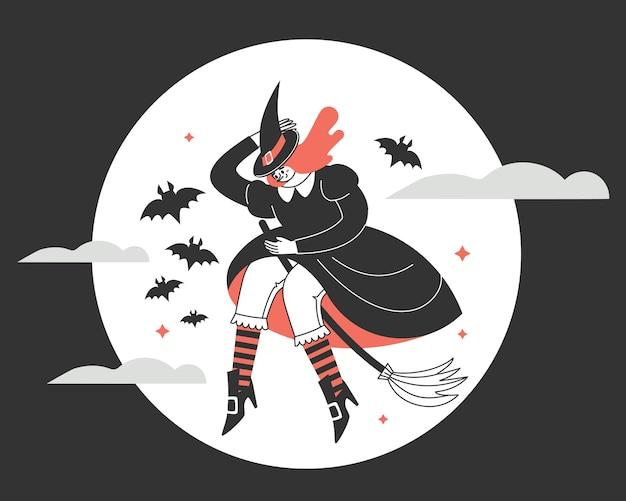満月に対してほうきで魔女。