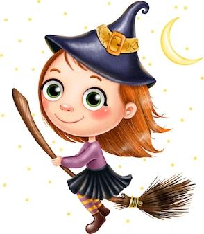 Ведьма на метле летит среди звезд