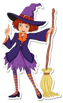 ほうきの漫画のキャラクターのステッカーを持つ魔女