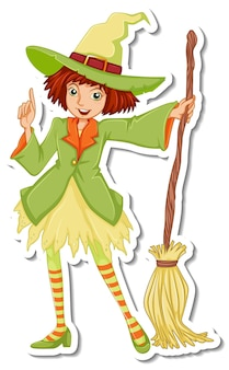 Ведьма с метлой мультяшный персонаж наклейка