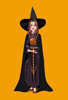 뾰족한 모자에 빨간 머리와 검은 옷을 입은 마녀가 할로윈 호박에 주문을 던집니다