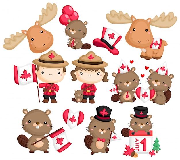 カナダ、ビーバー、ムースをテーマにしたa