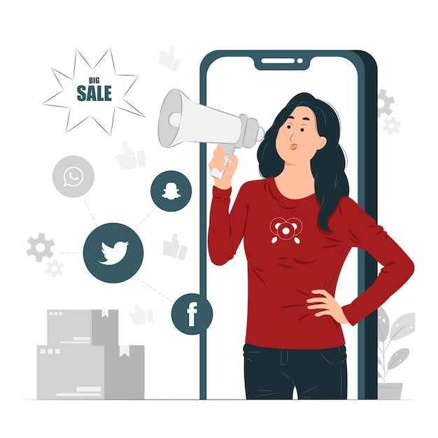 女性、女の子、モバイルマーケティングのコンセプトイラストをやっている女性のインフルエンサー