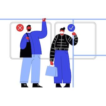 公共交通機関でマスクをしている女性と男性。マスクを着用する間違った正しい方法。