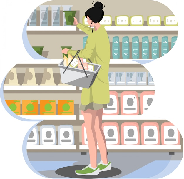 食料品店で商品を選ぶ女性