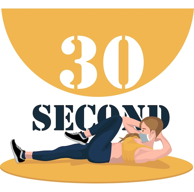 30秒の運動ポーズをしている女性