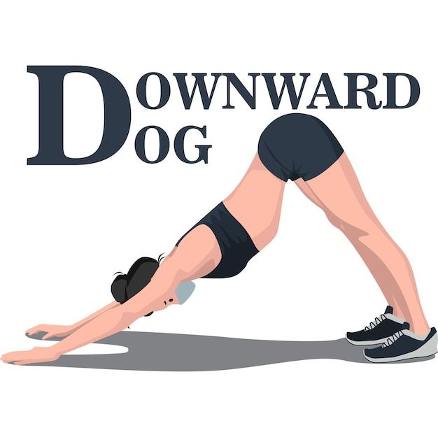 筋肉を伸ばすために下向きの犬をしている女性