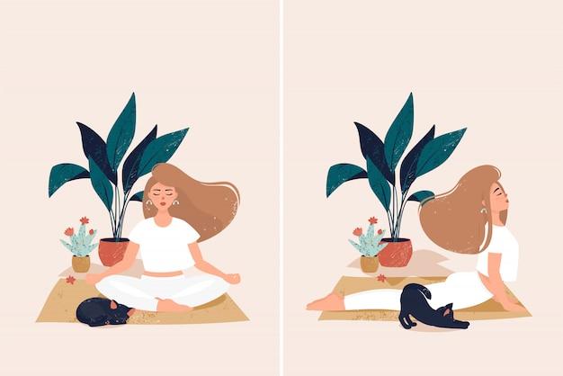 식물 냄비에 귀여운 검은 고양이와 아늑한 집에서 요가를하는 여자