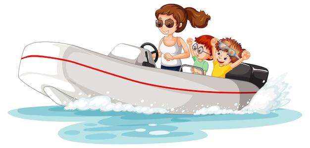 子供と一緒にスピードボートを運転する女性